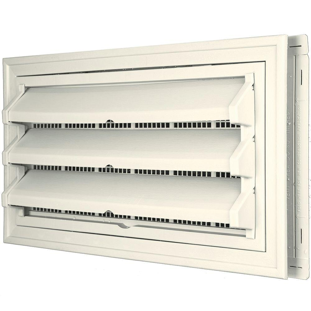 Builders Edge 9-3/8 in. x 17-1/2 in. Foundation Vent Kit with Trim Ring and Optional Fixed Louvers (Galvanized Screen) #034 Parchment