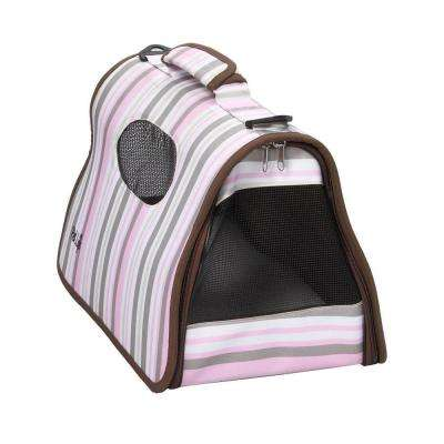 Airline Approved Zippered Stripe Folding Cage Carrier - Medium