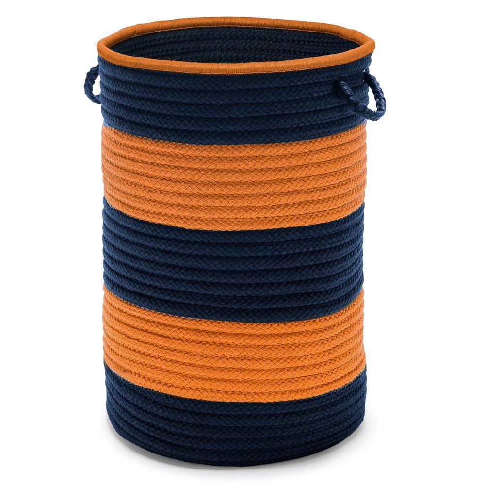 Color Pop Round Polypropylene Hamper Navy Orange 16 in. x 16 in. x 24 in.