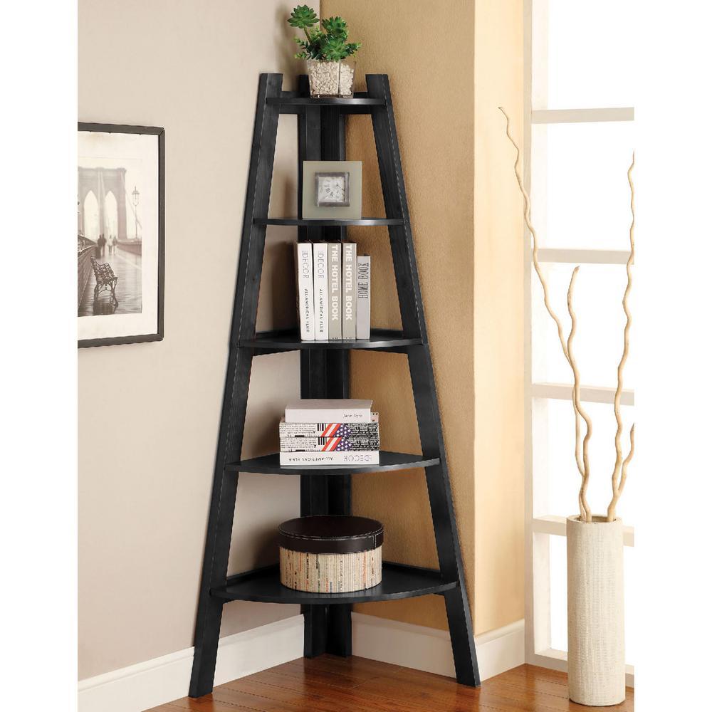 Venetian Worldwide Lyss Black Ladder Bookshelf