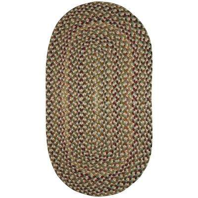 Jamerson Green 3 ft. x 5 ft. Braided Oval Area Rug