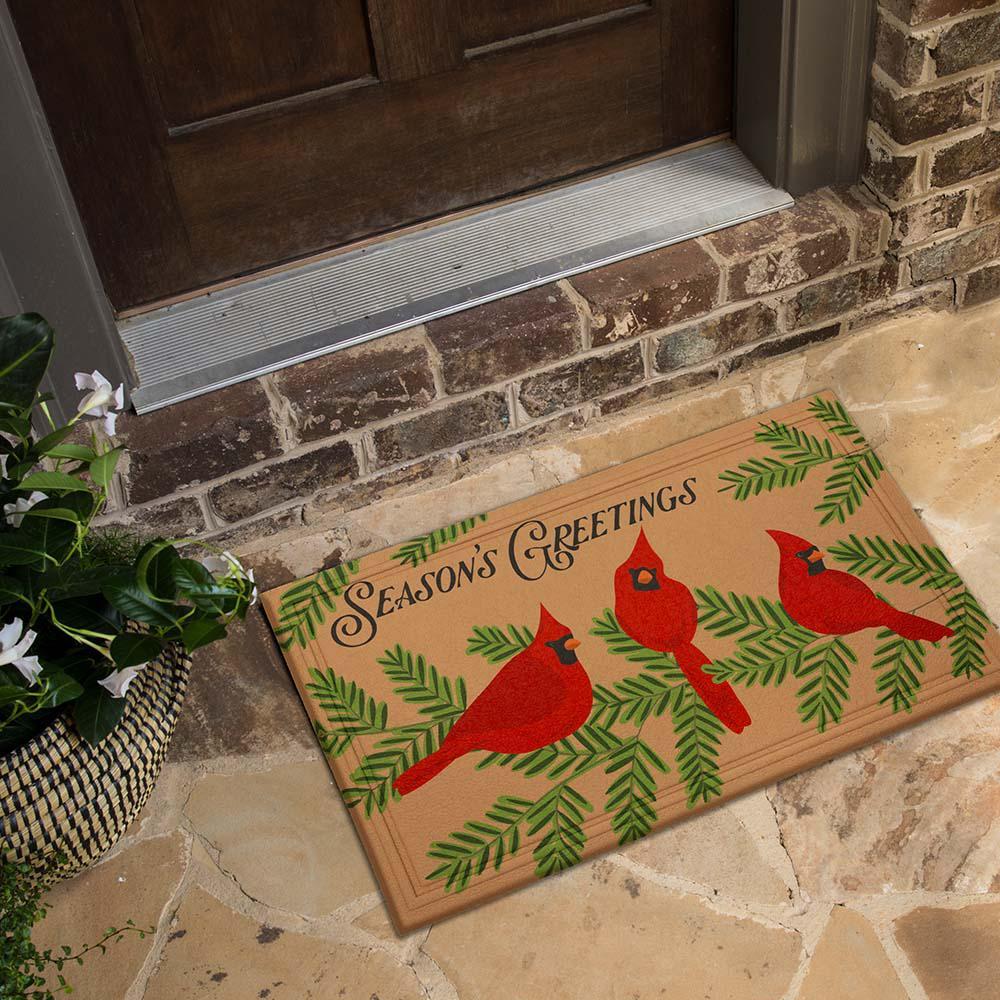 Cardinals Molded Elegant Entry 18 in. x 30 in. Holiday Door Mat