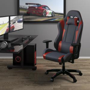 Surprising Corliving Grey And Red High Back Ergonomic Office Gaming Machost Co Dining Chair Design Ideas Machostcouk
