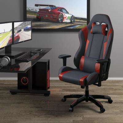 Grey and Red High Back Ergonomic Office Gaming Chair with Height Adjustable Arms