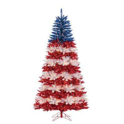 patriotic america tree in red white and blue with 1040 clear lights - Christmas Tree With White Lights And Red Decorations