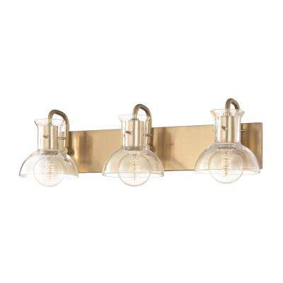 Riley 3-Light Aged Brass Bath Light with Clear Glass