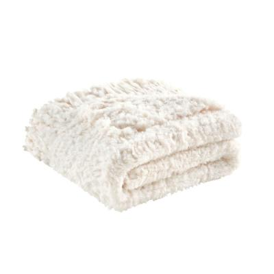 Sadie Faux Fur Throw with Fringe 50 in. x 60 in. Ivory