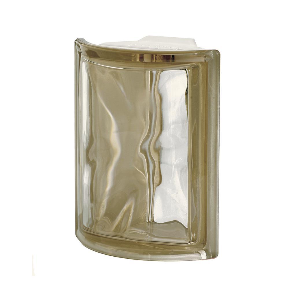 Pegasus Siena Q19 5.98 in. x 7.48 in. x 3.15 in. Wavy Pattern Corner Glass Block