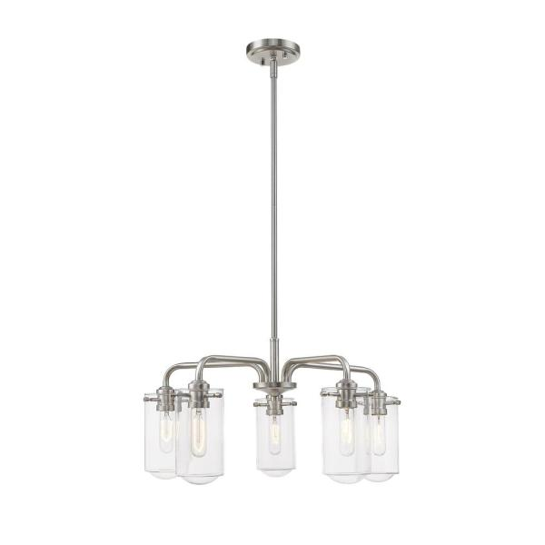 Filament Design 5 Light Brushed Nickel Chandelier With Glass Shades Hd Te37231 The Home Depot