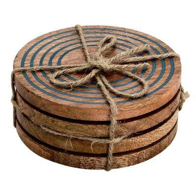 Ringed 4-Pieces Wood Coaster Set