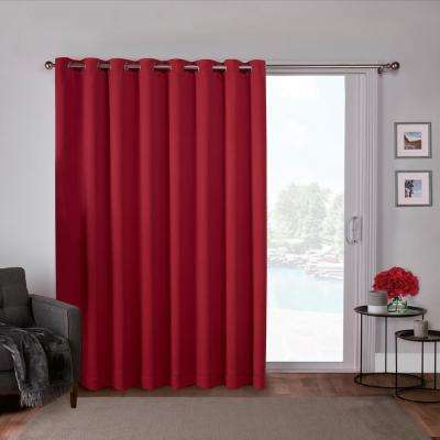 Sateen Patio 100 in. W x 84 in. L Woven Blackout Grommet Top Curtain Panel in Chili (1 Panel)