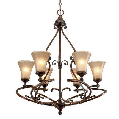 Sieva Collection 6-Light Russet Bronze Chandelier