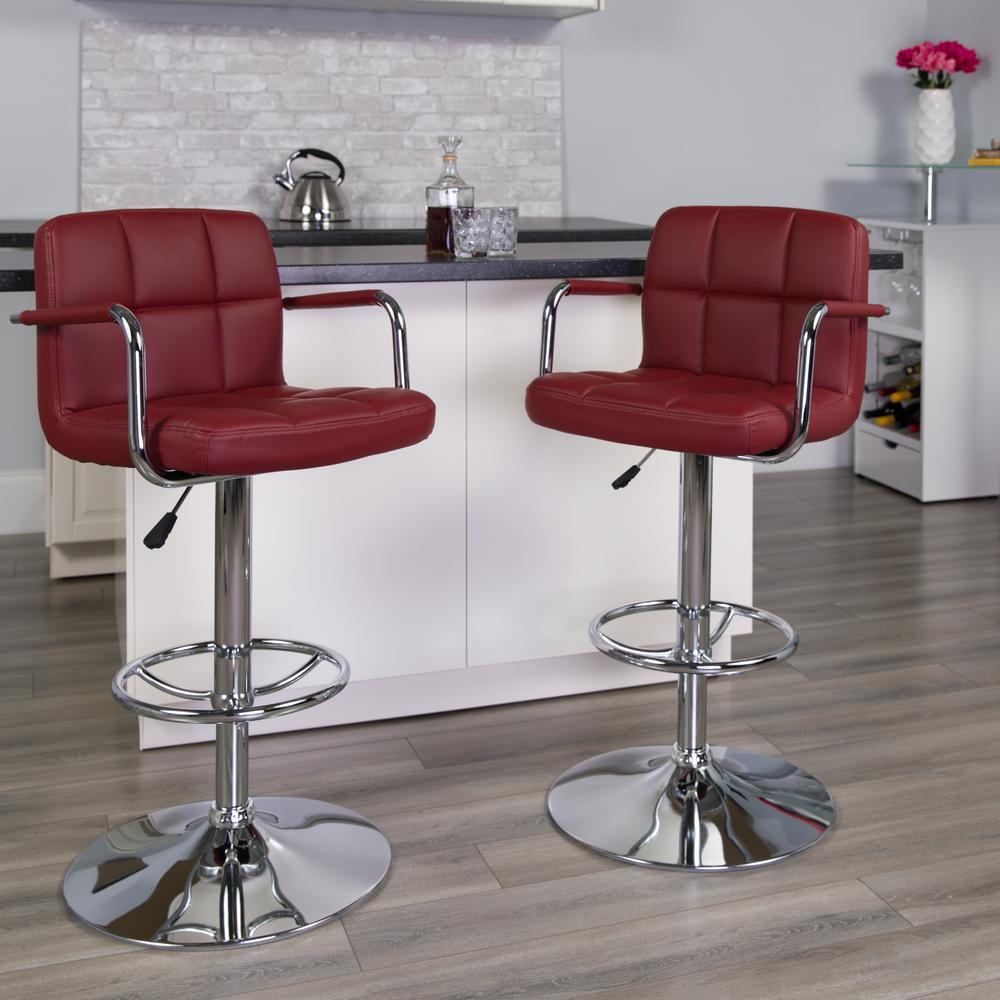 Flash Furniture 33.25 in. Adjustable Height Burgundy Cushioned Bar Stool