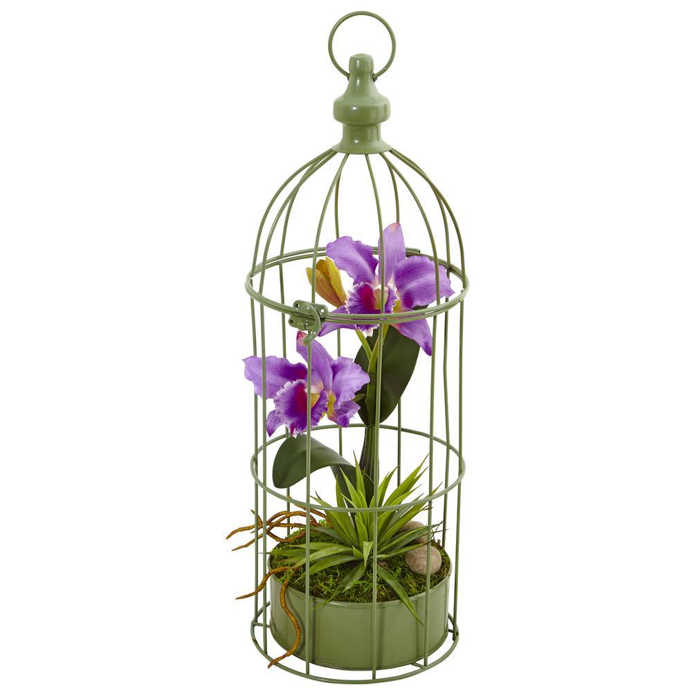 Nearly Natural Indoor Cattleya Orchid Silk Arrangement in Decorative Bird Cage