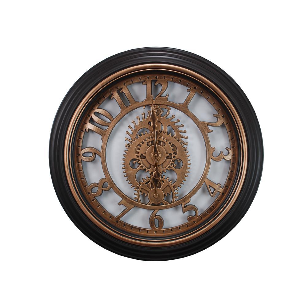 Gears 20 in. Wall Clock in Bronze Finish