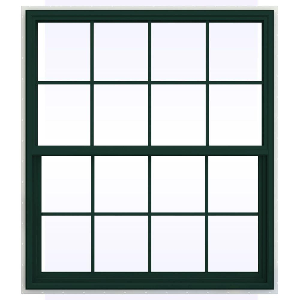 JELD-WEN 47.5 in. x 59.5 in. V-4500 Series Single Hung Vinyl Window with Grids - Green