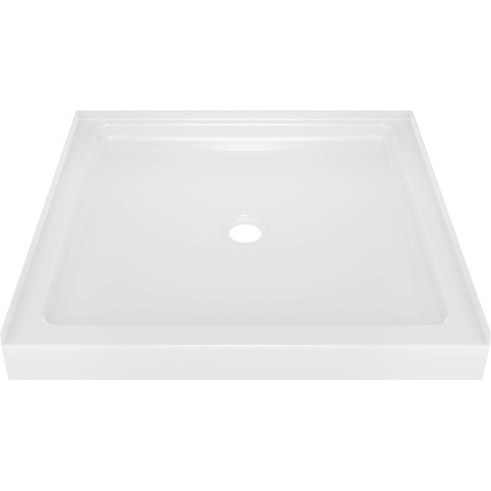 Delta Classic 400 36 in. x 36 in. Single Threshold Shower Base in High Gloss White