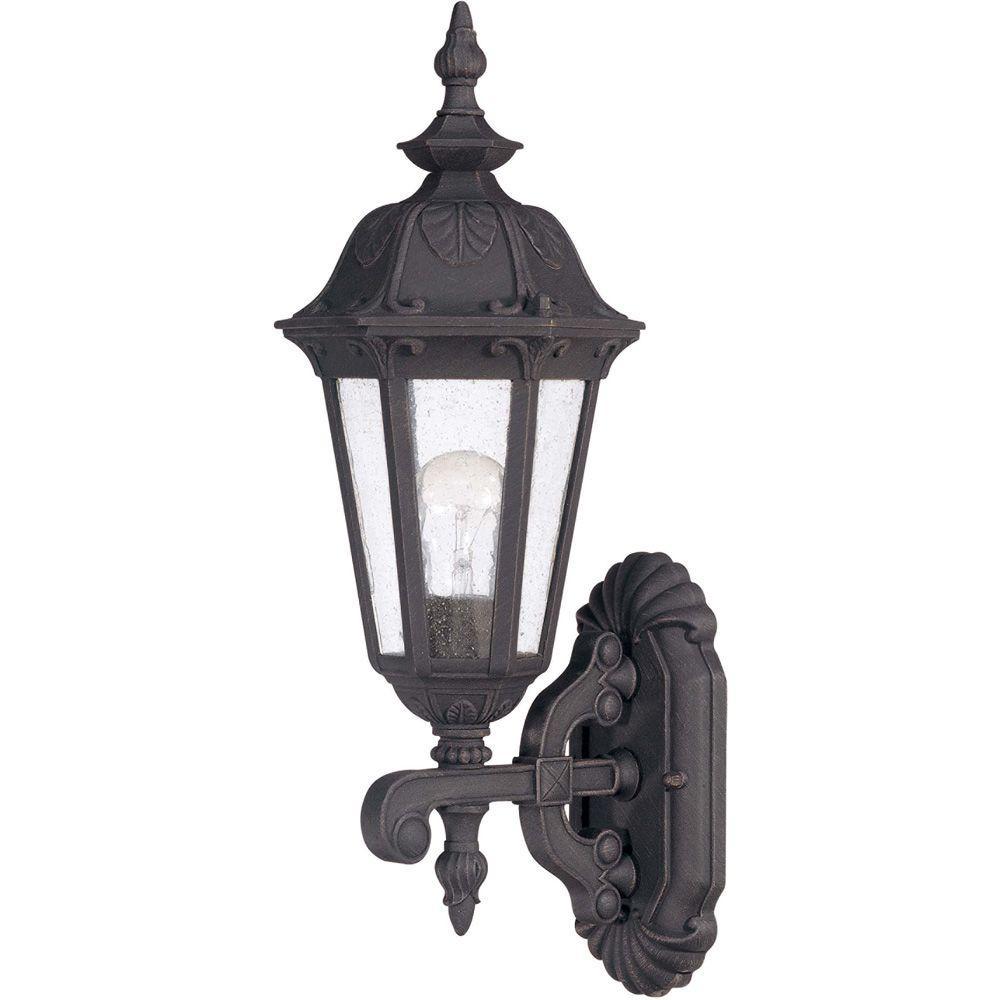 1-Light Outdoor Satin Iron ore Incandescent Wall Light