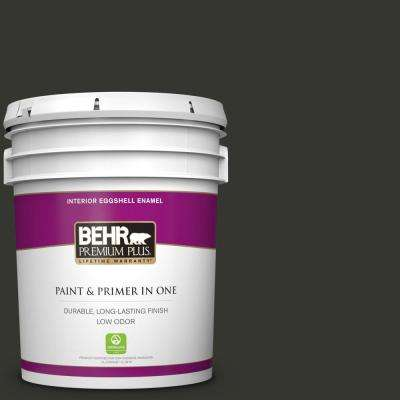 5 gal. #PPF-59 Raven Black Eggshell Enamel Low Odor Interior Paint and Primer in One