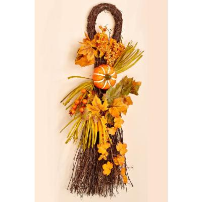 26 in. Fall Twig Teardrop with Long Grasses Berries Pumpkins and Leaves