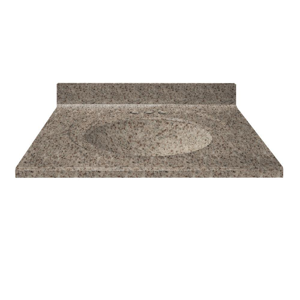 US Marble 49 in. Cultured Granite Vanity Top in Mountain Color with Integral Backsplash and Mountain Bowl