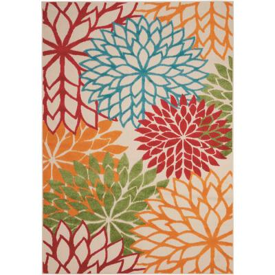 Aloha Green 10 ft. x 13 ft. Floral Modern Indoor/Outdoor Area Rug