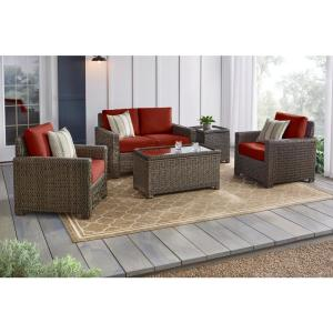 Laguna Point 4-Piece Brown Wicker Outdoor Patio Deep Seating Set with Sunbrella Henna Red Cushions