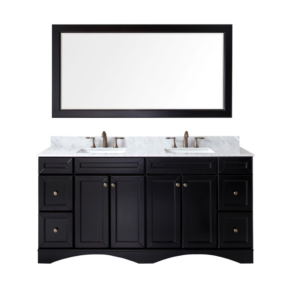 Virtu USA Talisa 72 in. W Bath Vanity in Espresso with Marble Vanity Top in White with Square Basin and Mirror