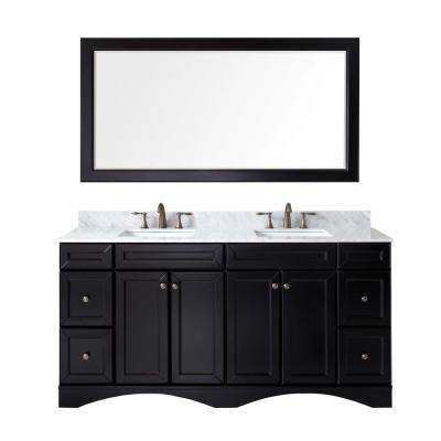Talisa 72 in. W Bath Vanity in Espresso with Marble Vanity Top in White with Square Basin and Mirror