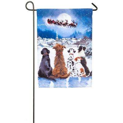 18 in. x 12.5 in. Christmas Dogs Garden Satin Flag