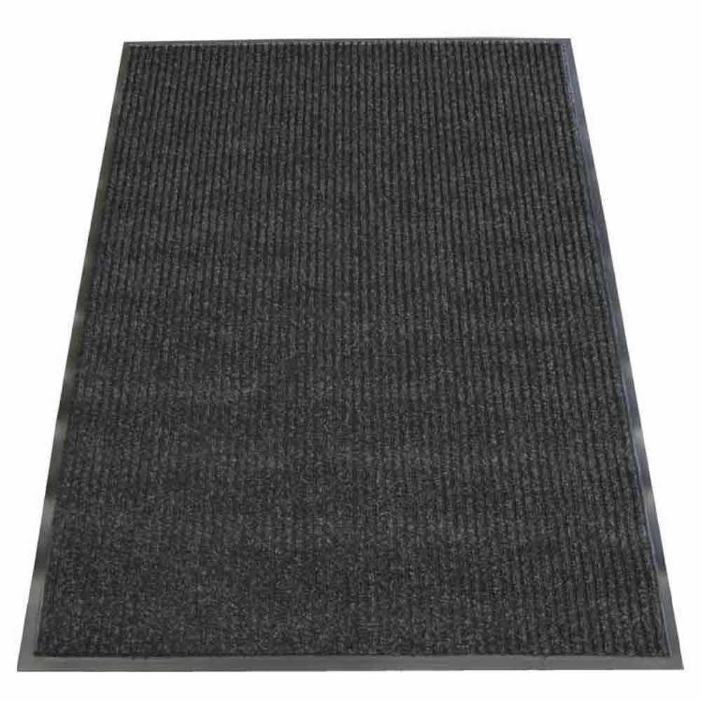 Ribbed Polypropylene Charcoal 4 ft. x 8 ft. Polypropylene Carpet Mat