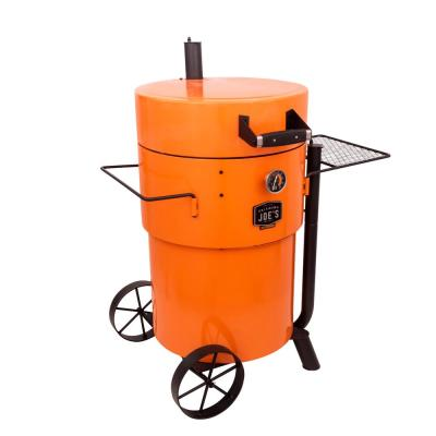 Bronco Pro Drum Style Charcoal Smoker and Grill in Orange