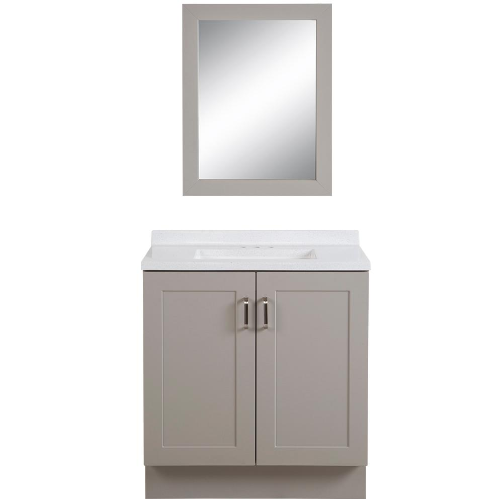 Glacier Bay Eldridge 30.5 in. W x 18.75 in. D Bath Vanity in Gray with Colorpoint Vanity Top in White with White Sink and Mirror