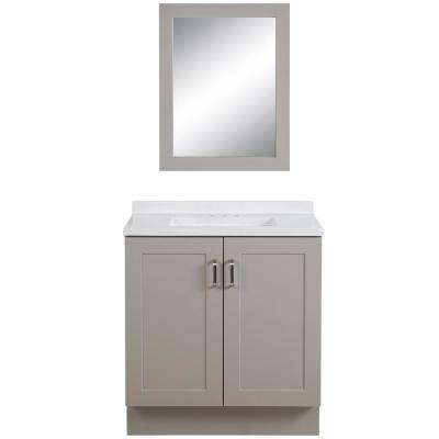 Eldridge 30.5 in. W x 18.75 in. D Bath Vanity in Gray with Colorpoint Vanity Top in White with White Sink and Mirror