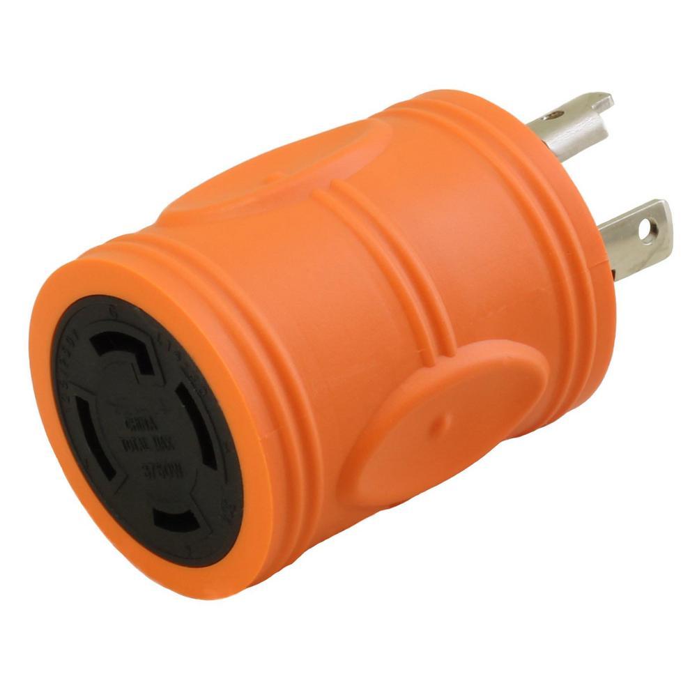 AC WORKS Locking Adapter NEMA L5-30P 30Amp 125Volt Locking Plug to L14-30R
