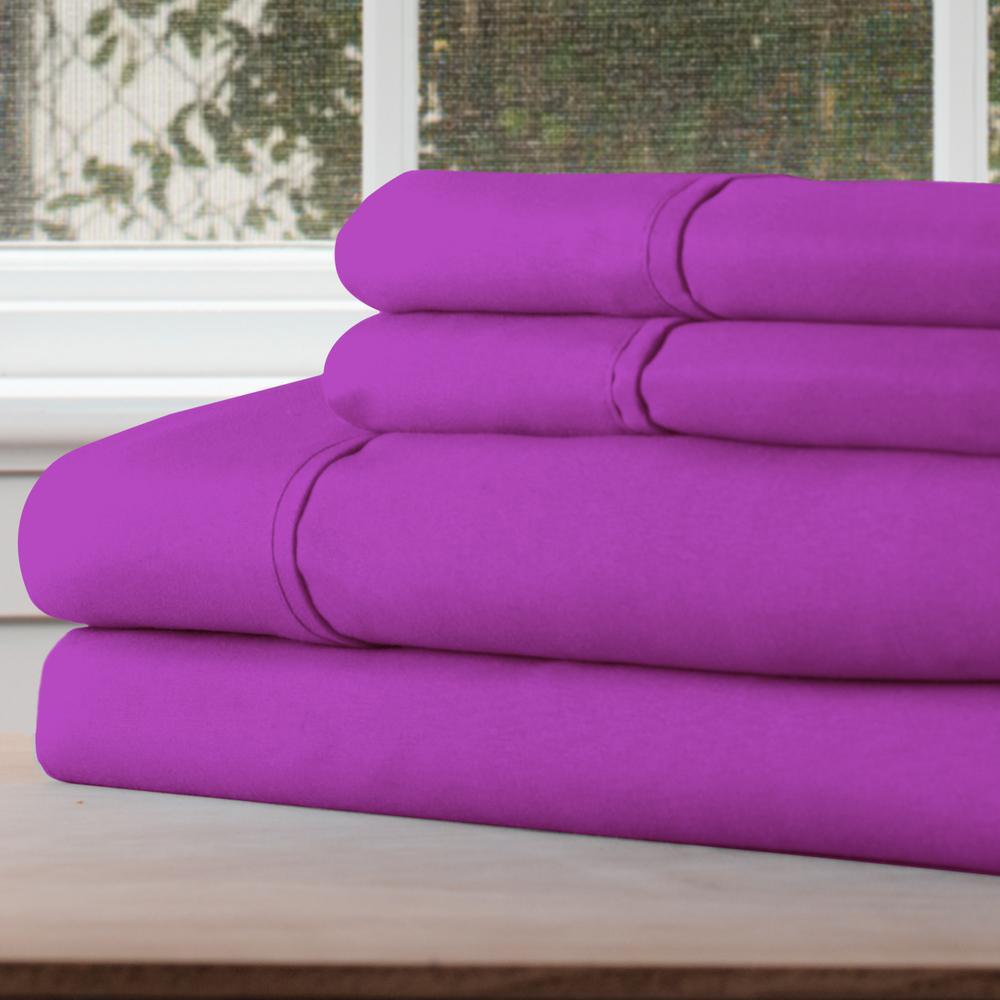 1200 Series 4-Piece Purple Microfiber Full Sheet Set