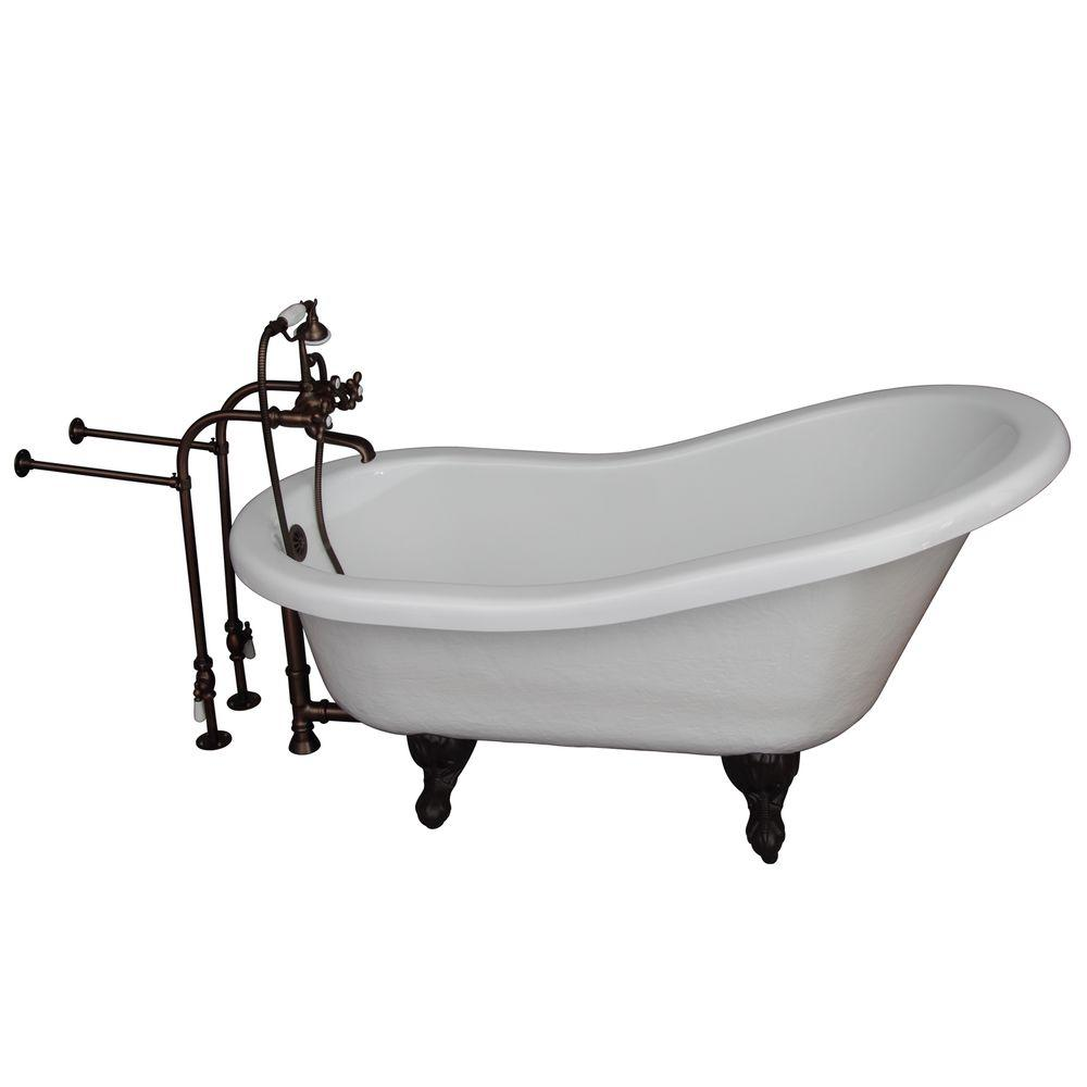 5.6 ft. Acrylic Ball and Claw Feet Slipper Tub in White