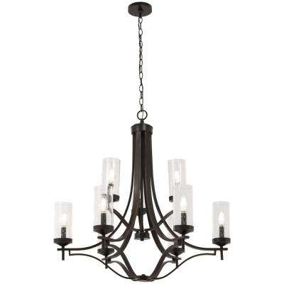 Elyton 9-Light Downtown Bronze with Gold Highlight Chandelier with Clear Seedy Glass Shade