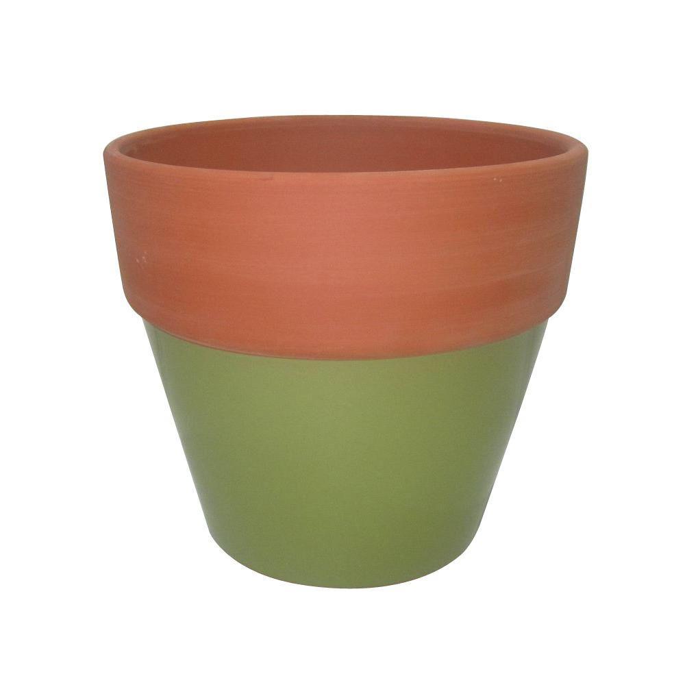 225 & 4.5 in. Green Glazed Assortment Terra Cotta Flower Pot