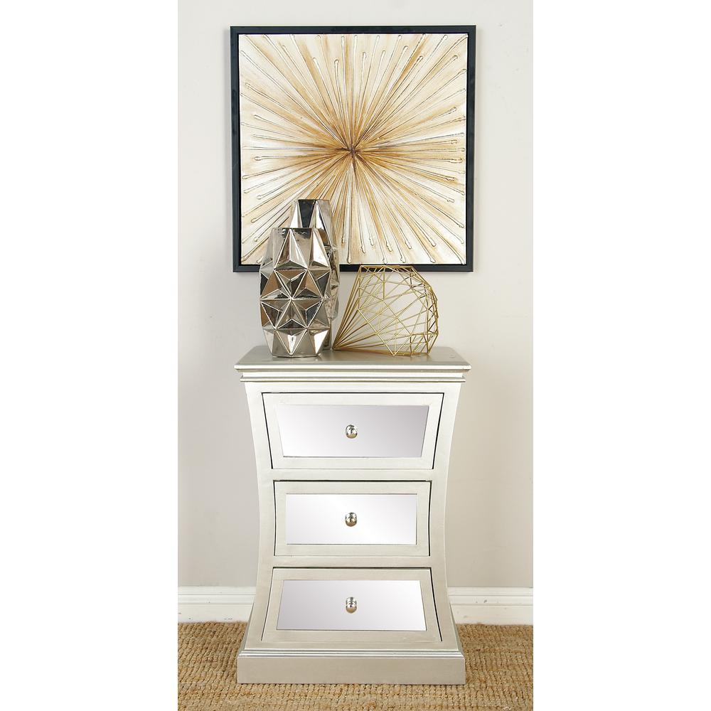 Modern Art Deco 2-Drawer Wooden Hourglass Cabinet