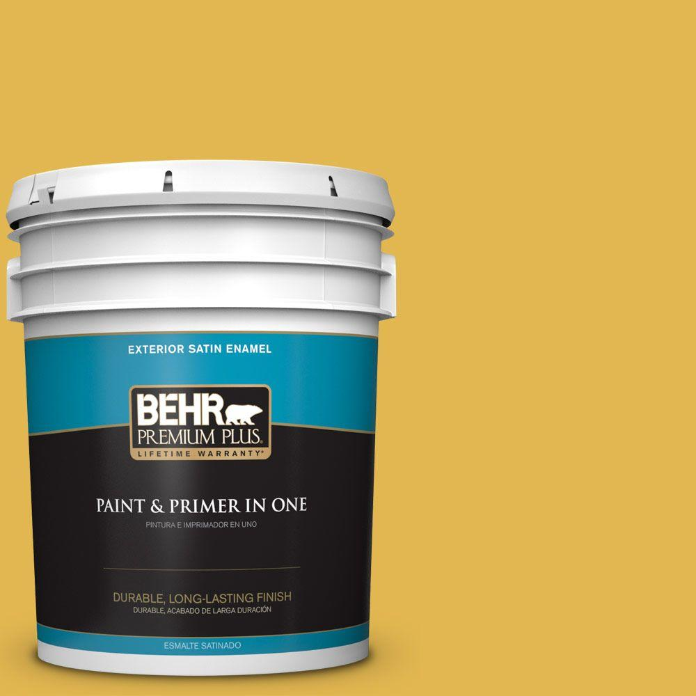 BEHR Premium Plus 5-gal. #360D-6 Yellow Gold Satin Enamel Exterior Paint