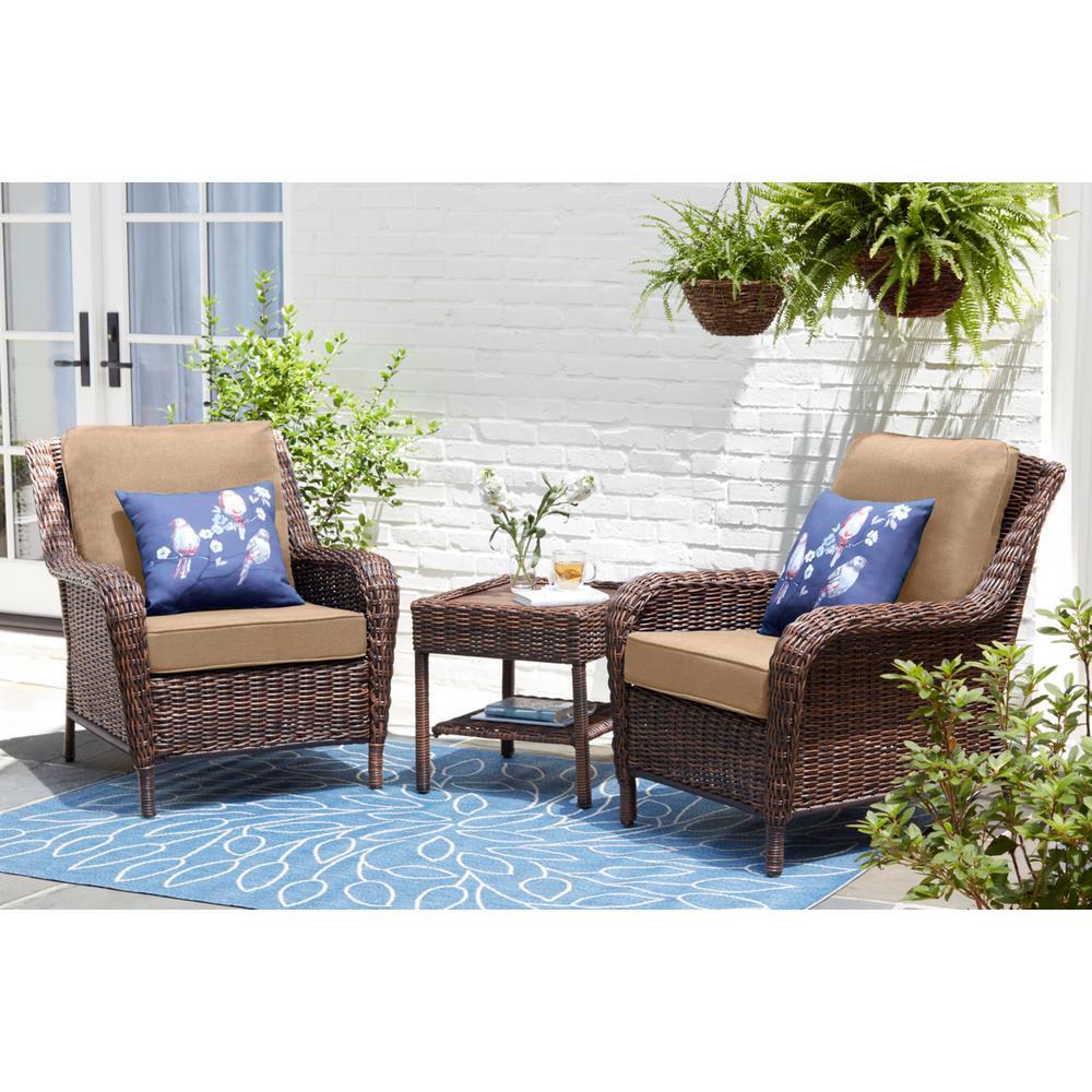 Cambridge Brown Wicker Outdoor Patio Lounge Chair with Sunbrella Beige Tan Cushions