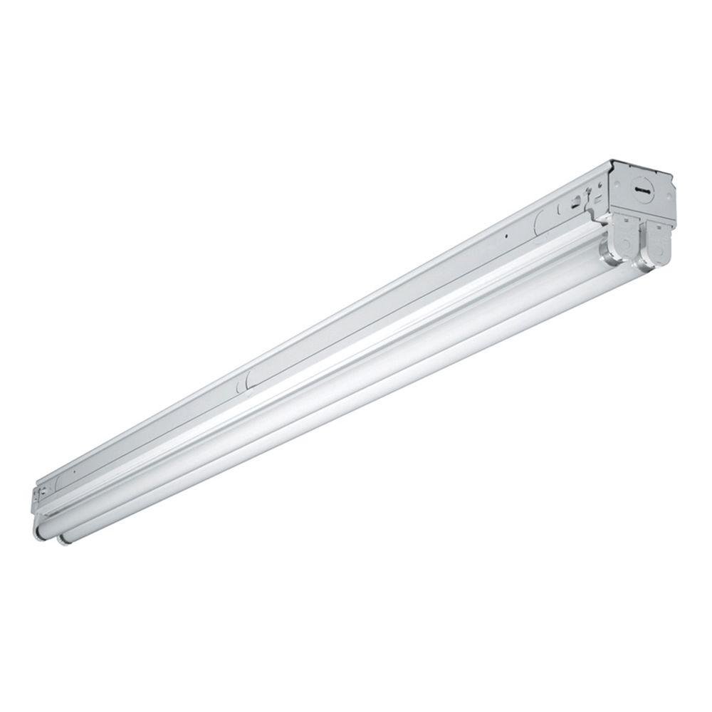 Metalux commercial lighting lighting the home depot 4 ft 2 lamp white commercial grade t8 fluorescent narrow strip light fixture arubaitofo Image collections