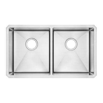 Pekoe Undermount Stainless Steel 29 in. Double Bowl Kitchen Sink Kit