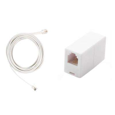 12 ft. Telephone Line Cord and In-Line Telephone Cord Coupler, White