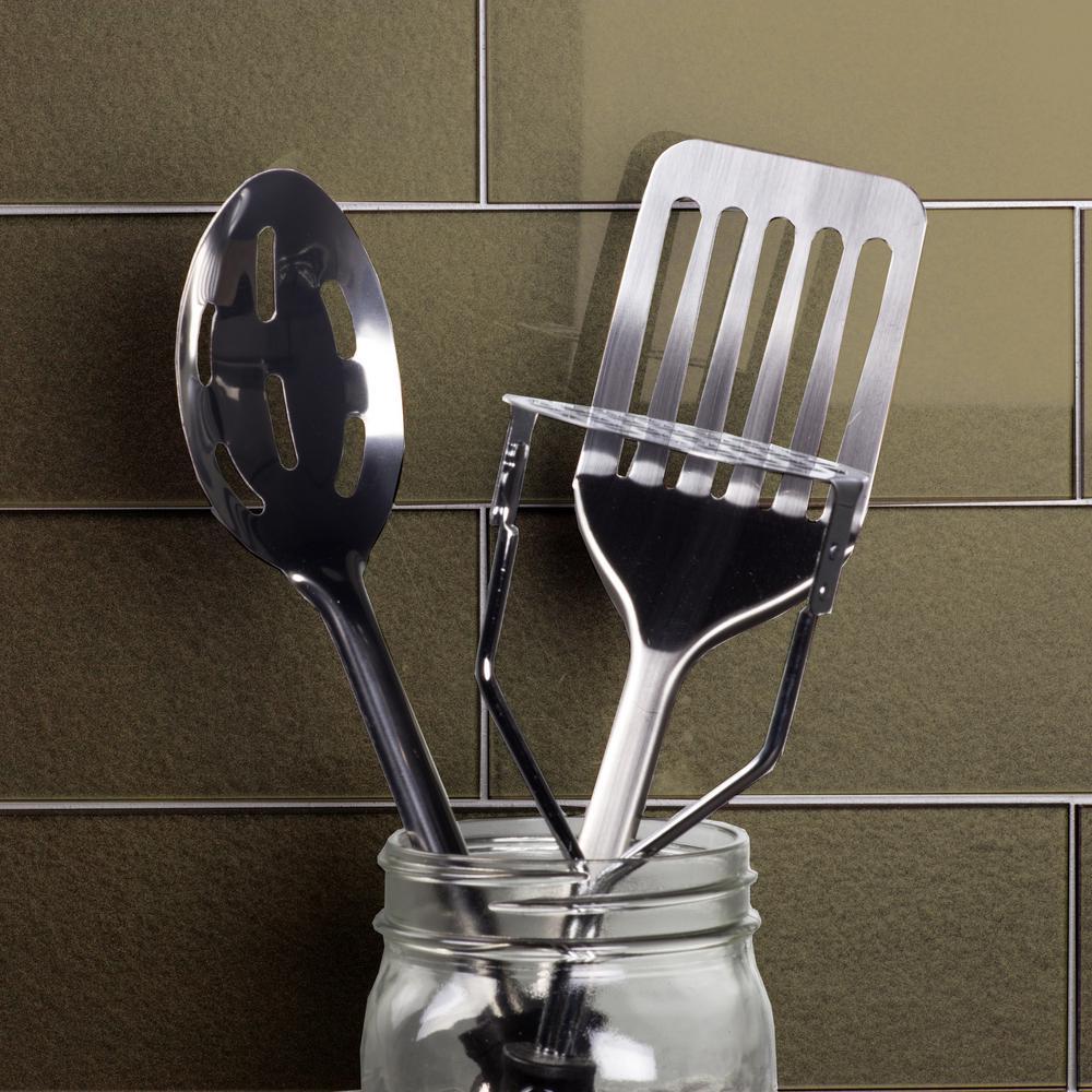 "Subway 3"" x 6"" Handmade Metallic Bronze Glossy Glass Peel & Stick Decorative Bathroom Wall Tile Backsplash (8-Pack)"