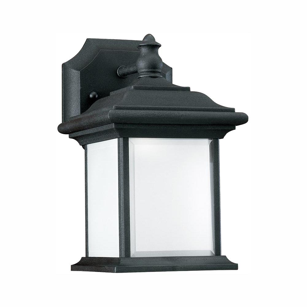 Sea Gull Lighting Wynfield 1-Light Black Outdoor 9.75 in. Wall Lantern Sconce with LED Bulb