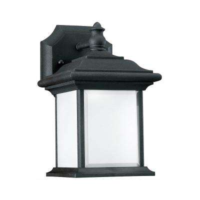 Wynfield 1-Light Black Outdoor 9.75 in. Wall Lantern Sconce with LED Bulb