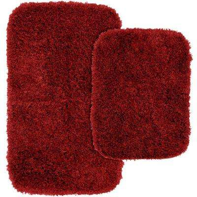 Jazz Chili Pepper Red 21 in. x 34 in. Washable Bathroom 2-Piece Rug Set