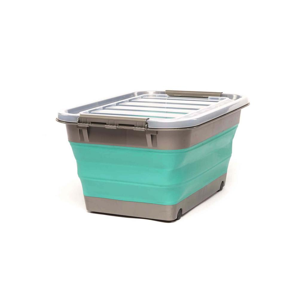 HOMZ Store N Stow 8-Gal. Collapsible Storage Container with Wheels in Grey and Teal Base with Clear Lid (6-Pack)